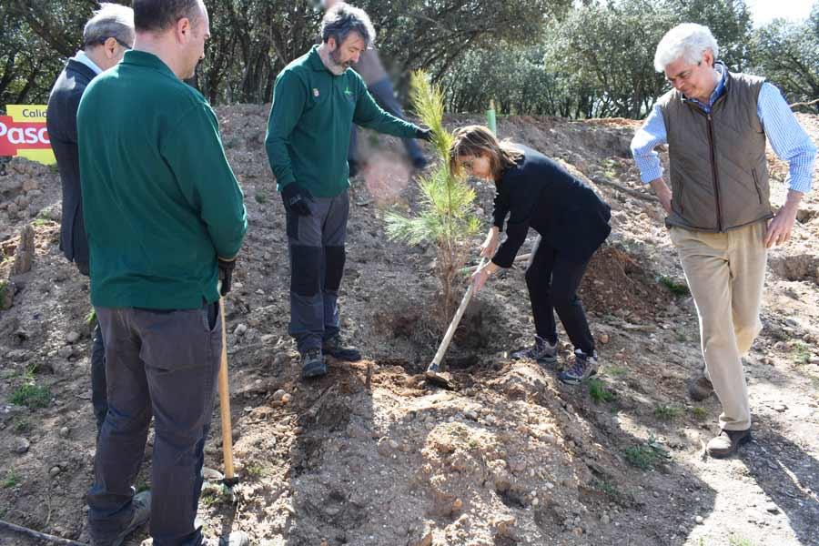 Raquel González plantaba el primer árbol