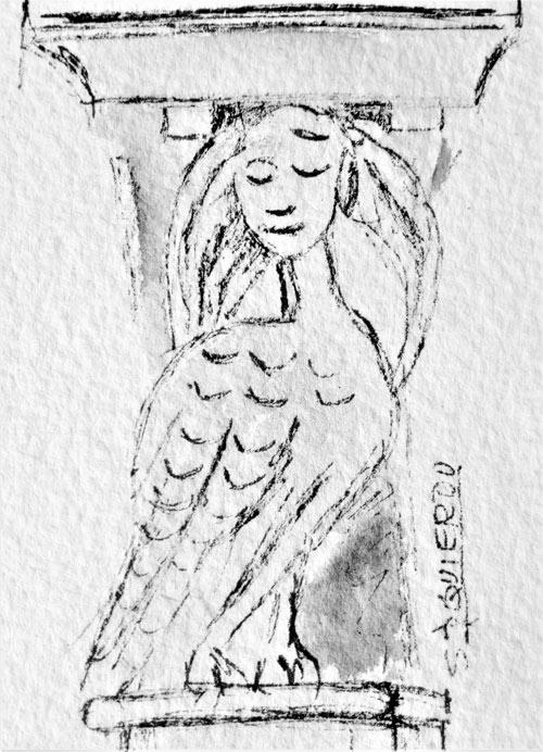 Arpía románica confinada